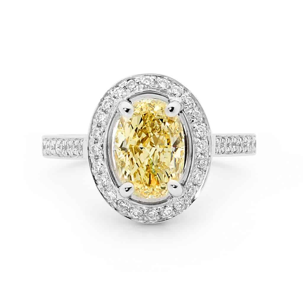 Light Yellow Diamond ring with Halo by Stelios Jewellers in Perth