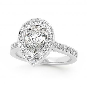 Pear shaped diamond Halo ring by Stelios Jewellers in Perth