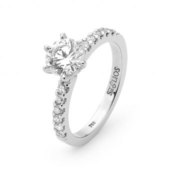 6 claw solitaire ring with a diamond band by Stelios Jewellers in Perth