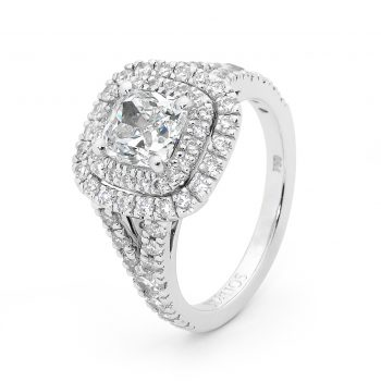 Double Cushion halo diamond ring by Stelios Jewellers in Perth