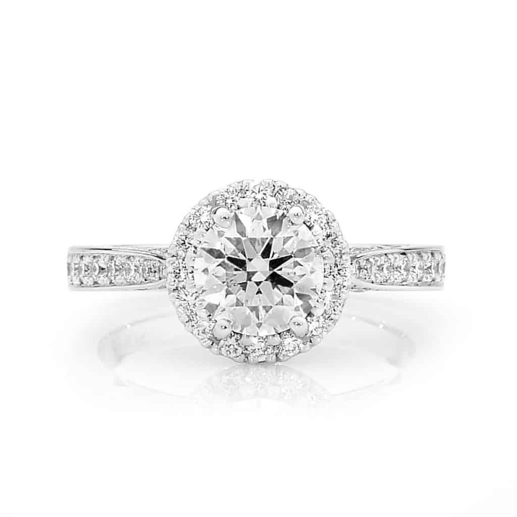 Scalloped set round brilliant diamond halo By Stelios Jewellers in Perth