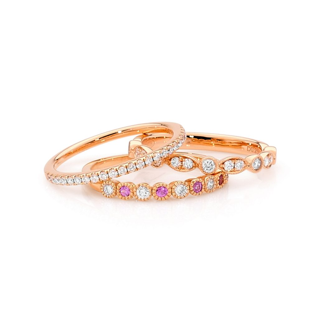 White Diamond and Pink Sapphire Rings By Stelios Jewellers in Perth
