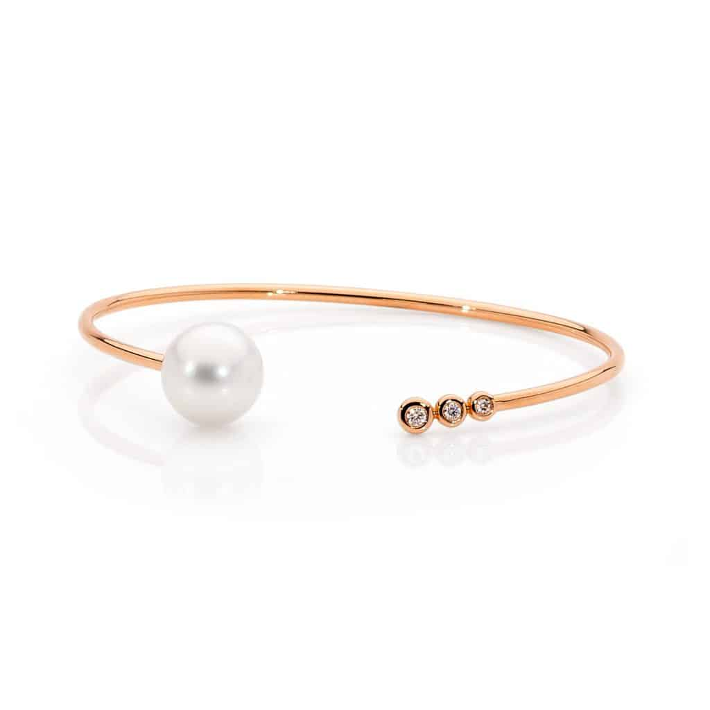 Australian South Sea pearl and diamond bangle by Stelios Jewellers in Perth