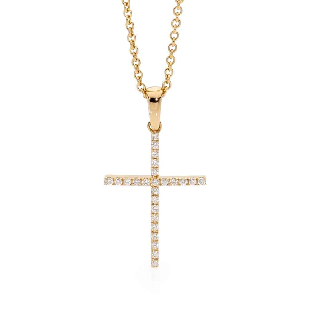 Yellow Gold diamond cross by Stelios Jewellers in Perth