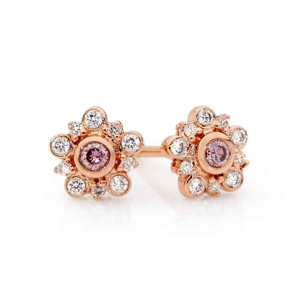 Argyle Pink Diamond flower earrings by Stelios Jewellers in Perth