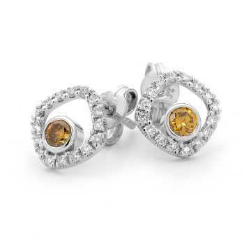 Orange diamond and White diamond halo earrings by Stelios Jewellers in Perth