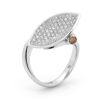 Vivid orange Pave diamond ring by Stelios Jewellers in Perth