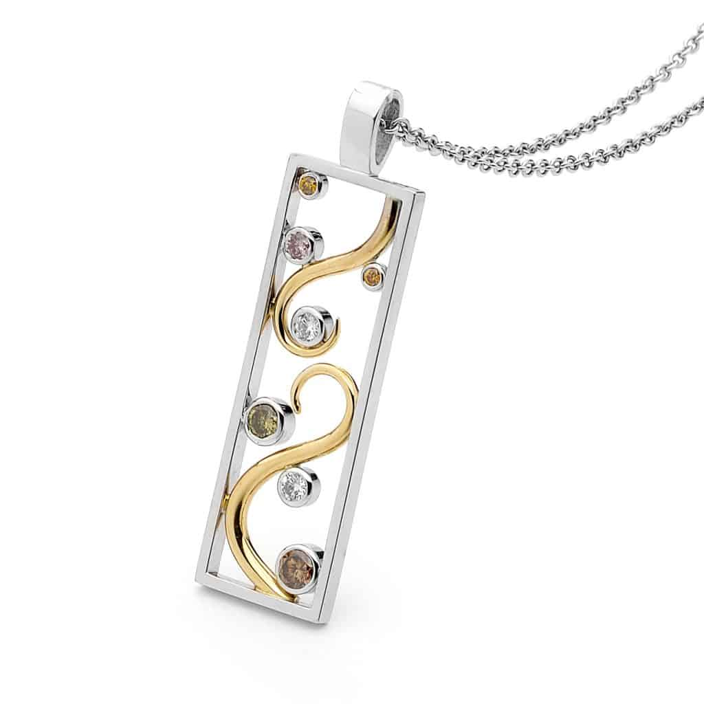 Two toned fancy coloured diamond pendant by Stelios Jewellers in Perth