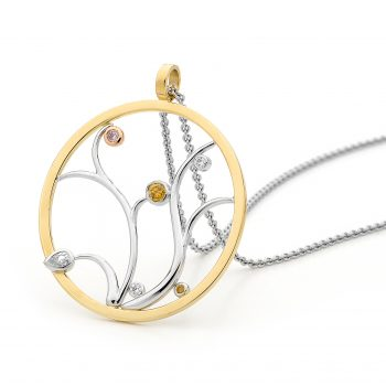 two toned round fancy coloured diamond pendant by Stelios Jewellers in Perth