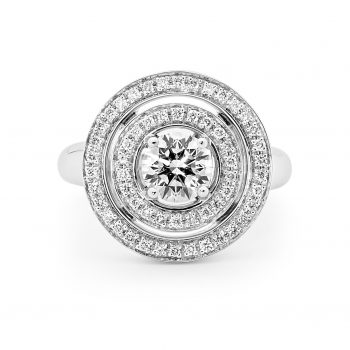Round brilliant Diamond ring with a Double halo by Stelios Jewellers in Perth