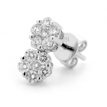 White diamond cluster earrings by Stelios Jewellers in Perth