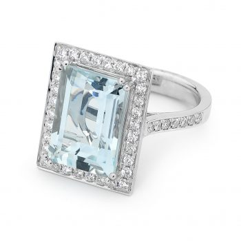 Aquamarine Diamond halo ring by Stelios Jewellers in Perth