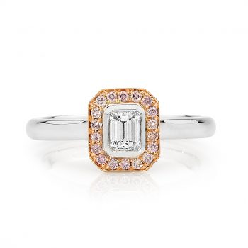 Emerald cut pink diamond ring