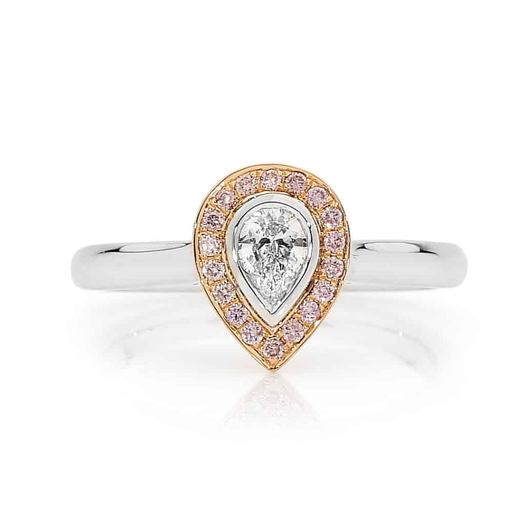 Pear cut pink diamond ring by Stelios Jewellers in Perth