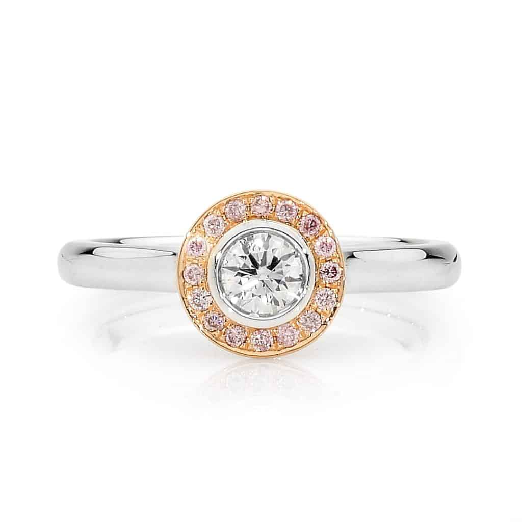 Round Brilliant cut pink diamond ring by Stelios Jewellers in Perth