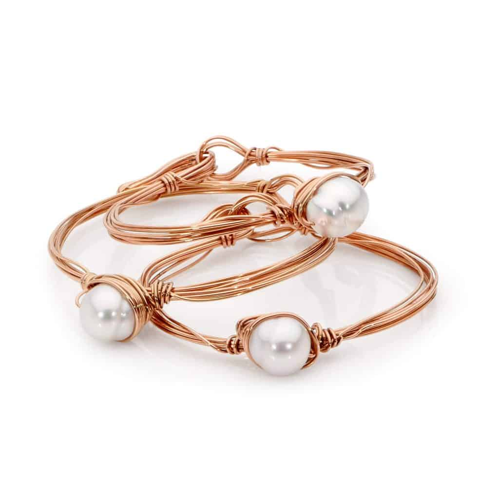 Australian South Sea Pearl and Rose Gold Bangles By Stelios Jewellers in Perth