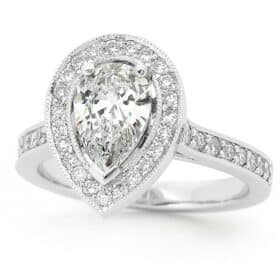 pear shaped diamond ring with halo